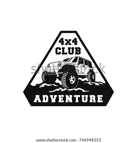 Set Atv Vehicle Logo Emblems Allterrain Stock Vector