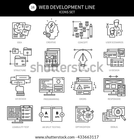 Infographics Icons Collection Web Development Mobile Stock