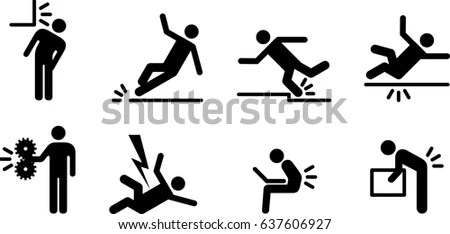 People Icons Variety Common Accidents Fall Stock Vector