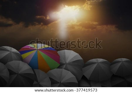 Rainy Fall Wallpaper Rainbow Colored Umbrellas Dark Cloudy Sky Stock Photo