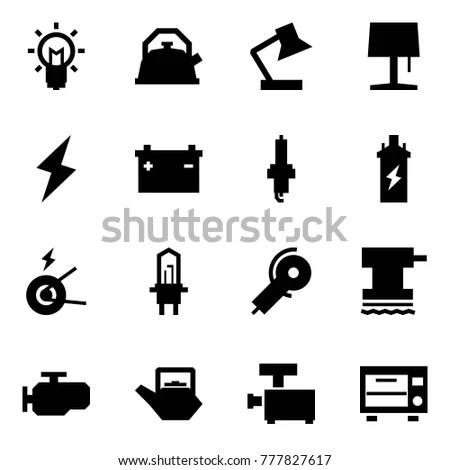 Origami Style Icon Set Bulb Vector Stock Vector 770353408