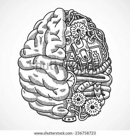 Human Brain Engineering Processing Machine Sketch Stock