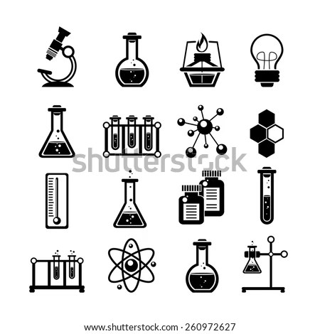 Chemistry Biology Physics Related Science Icons Stock