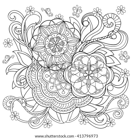 Girl Garden Whimsical Line Art Coloring Stock Vector