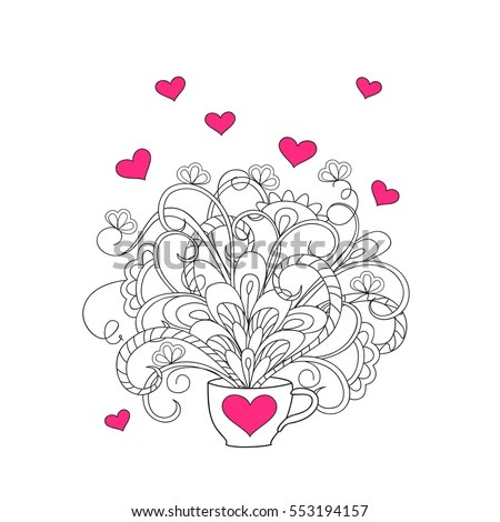 Heart On Flowers Coloring Books Adult Stock Vector