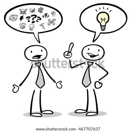 Two Cartoon Business People Talking Empty Stock