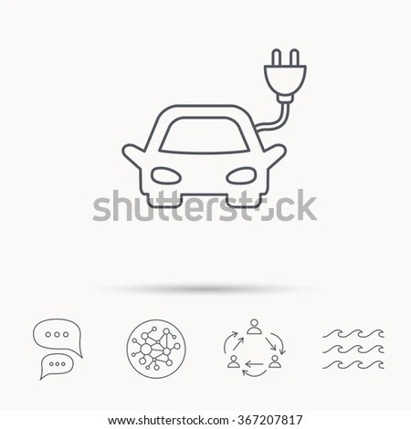 Electric Vehicle Charging Station Icons Set Stock Vector