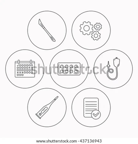 Electronic Thermometer Tablets Scalpel Icons Enema Stock