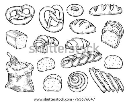 Food Set Variety Bread Basket Bread Stock Vector 346197941