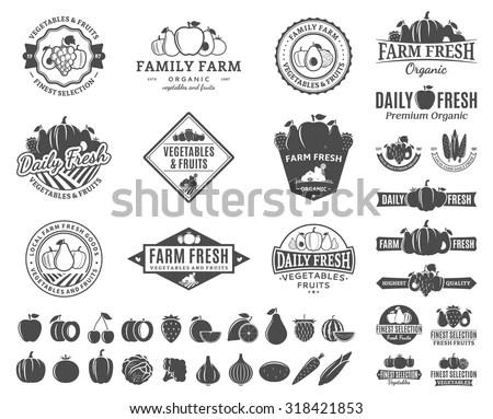 Vintage Organic Harvest Stamps Set Fully Stock Vector