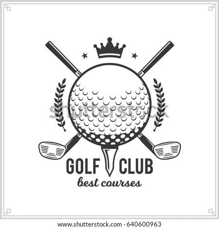 Set Golf Country Club Logo Templates Stock Vector