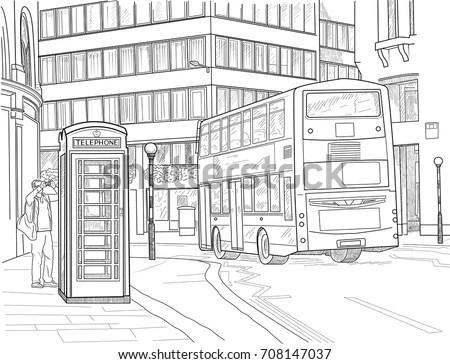 Vector Monochrome Sketch Urban Landscape Old Stock Vector