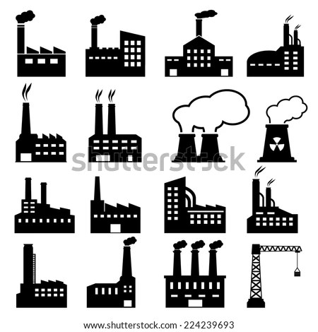 Black Factory Icons On White Background Stock Vector