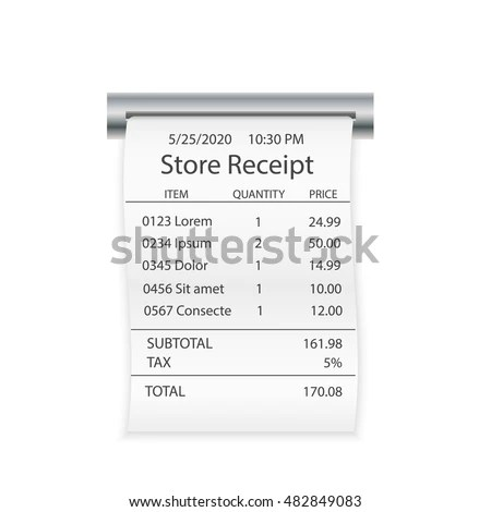 Sales Printed Receipt Shopping Paper Bill Stock Vector