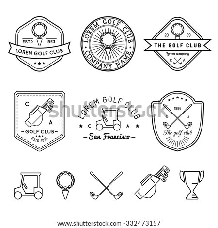 Colorful Vintage Golf Labels Club Academy Stock Vector