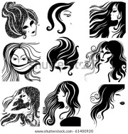 vector collection women head silhouettes