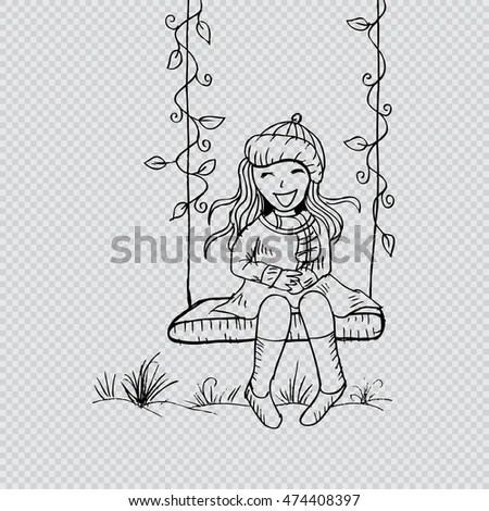 Cartoon Girl Smiling On Swing Guitar Stock Vector