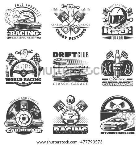 Set Car Racing Colored Emblems Labels Stock Vector