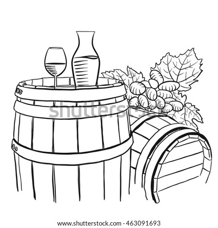 Vineyard Composition Grapes Glass Vine Vector Stock Vector