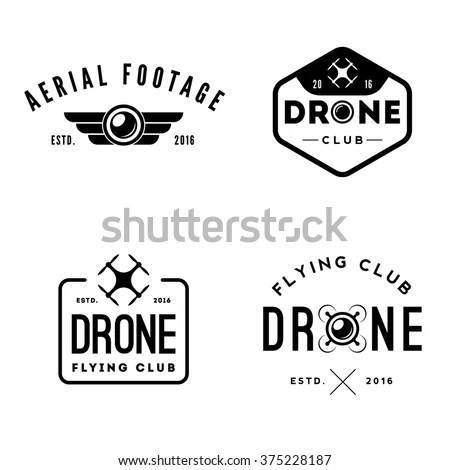Business Card Drone Logo Aerial Footage Stock Vector