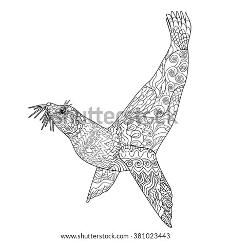 Flying Seagull High Details Adult Antistress Stock Vector