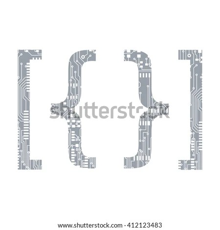 Set Circuit Board Style Letters Stock Vector 124328872