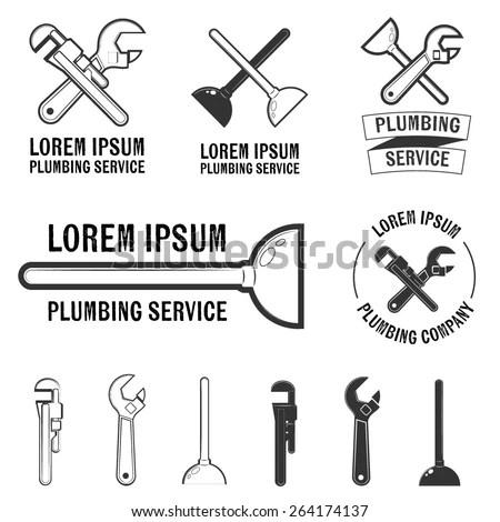 Plumbing Service Logos Signs Vector Insignia Stock Vector