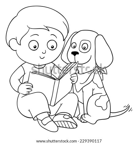 Hand Drawn Coloring Book Cartoon Illustration Stock