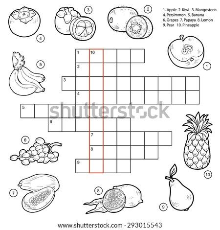 Vector Black White Crossword Education Game Stock Vector