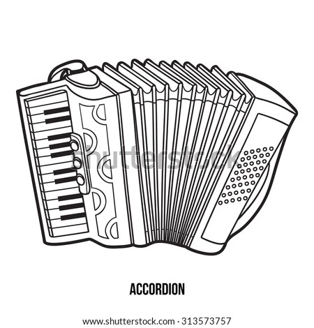 Handdrawn Vintage Accordion Bayan Music Instrument Stock