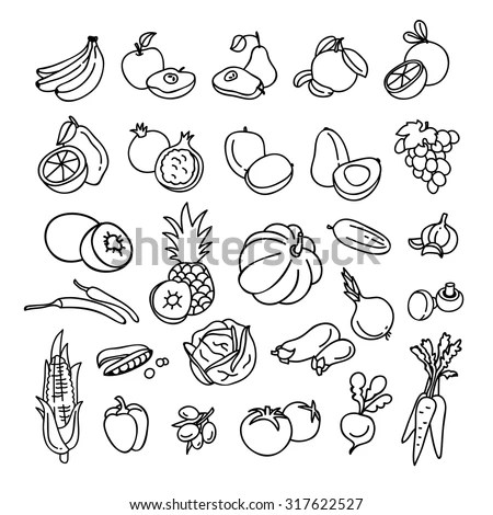 Vector Illustration Flat Fruit Vegetable Outline Stock