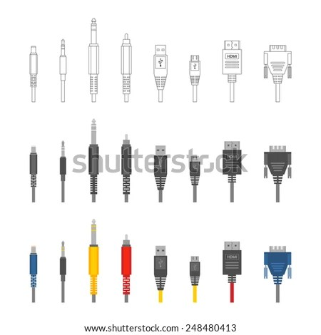 Different Cable Silhouettes Isolated On White Stock Vector