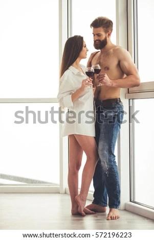 Man Towel Looking Woman Towel Stock Photo 380374669