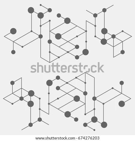 Geometric Lines Dots Line Pattern Modern Stock Vector