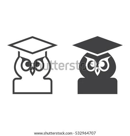 Owl Graduation Hat Symbol Wisdom Isolated Stock Vector
