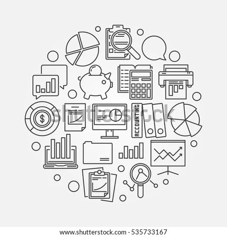 Accounting Round Bright Illustration Vector Colorful Stock