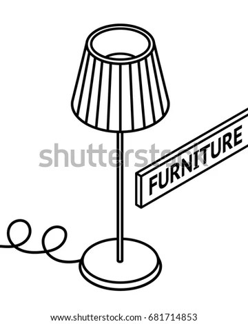 3d Line Drawn Isometric Chairs White Stock Vector