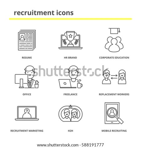 Line Icons Set Teamwork Communication Stock Stock Vector