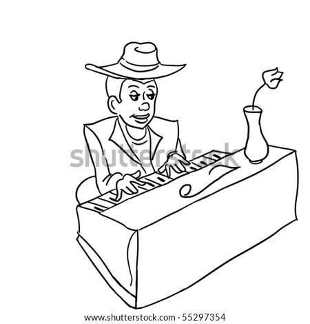 Stylized Illustration Man Playing Acoustic Guitar Stock