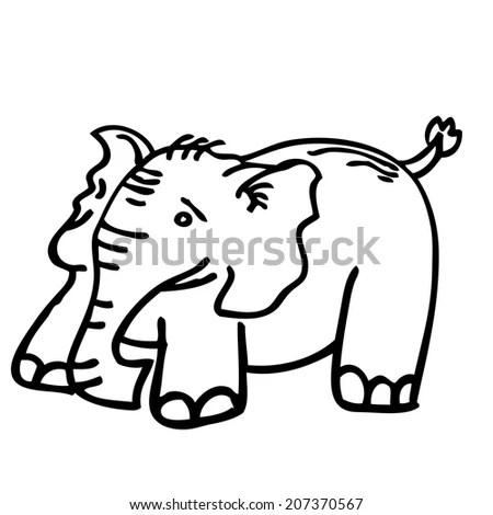 Cartoon Outline Vector Illustration Boy Eating Stock