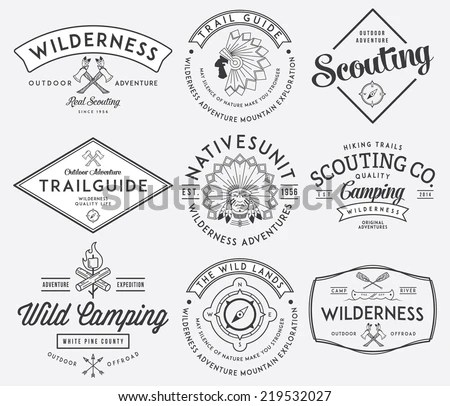 Set Military Armed Forces Badges Labels Stock Vector