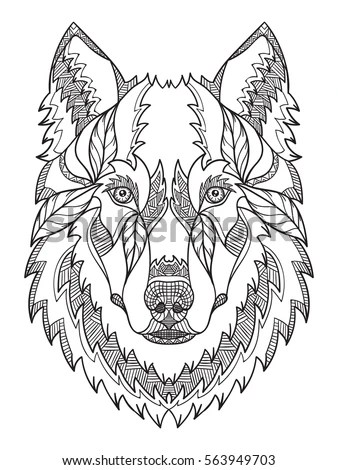 Pattern Shape Wolf On White Background Stock Vector