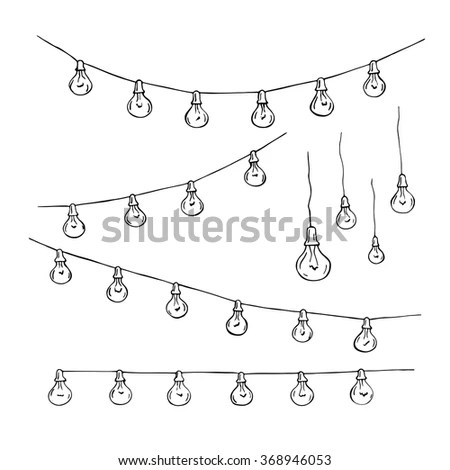 Festoon Party Lights Garlands Retro Lamps Stock Vector