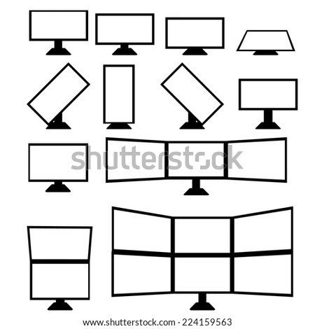 Mockup Gadget Device Outline Icons Set Stock Vector