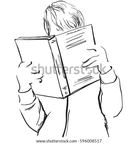 Sketch Woman Reading Book Hand Drawn Stock Vector