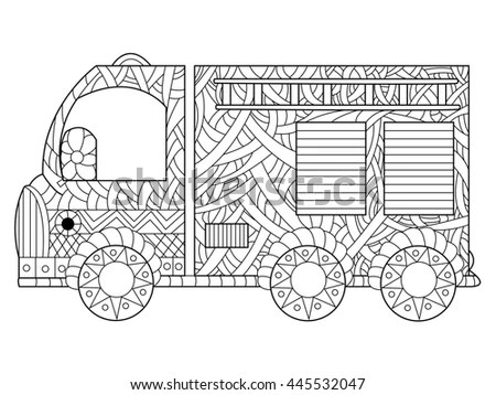 Fire Engine Coloring Book Adults Vector Stock Vector