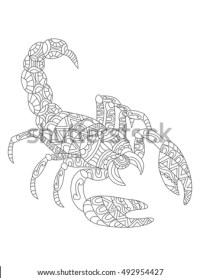 Zentangle Stylized Cartoon Scorpio Zodiac Sign Stock ...