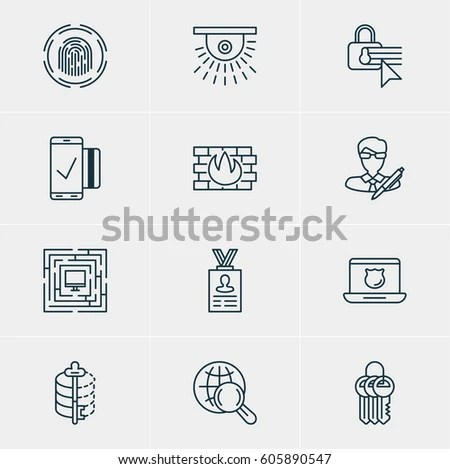 Video Surveillance Logos Made Modern Line Stock Vector