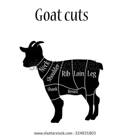 vintage lamb butcher diagram parts of a plant worksheet american us pork pig meat cuts stock vector 368197133 - shutterstock