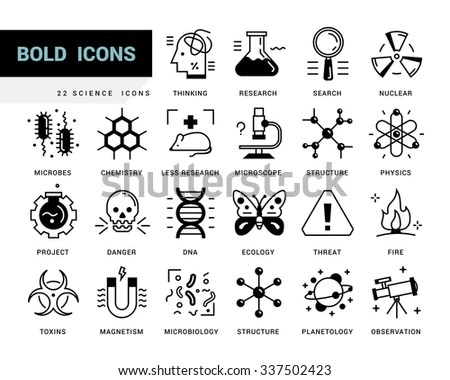 Line Vector Icons Modern Style Scientific Stock Vector